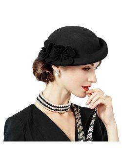 Pillbox Hat Wool Felt Beret Fascinator Hats Flower Cocktail Wedding Tea Party Hat