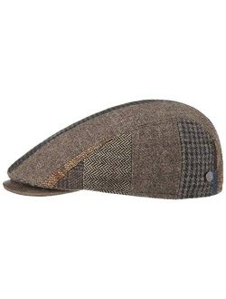 Pinto Patchwork Wool Flat Cap Men - Made In Italy