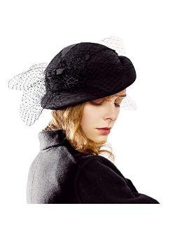 Fedora Womens Hats Short Brim 1920s Fascinator Wool Felt Cloche Bucket Bowler Hat With Veil