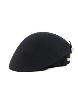 100% Wool Womens Beret Felt Elegant Women French Style Tag Beanie Warm Pillbox Hat Tea Party Derby Hats