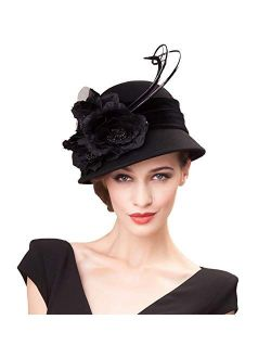 Ladies Wool Felt Feather Bucket Cocktail Church Formal Party Flower Hat