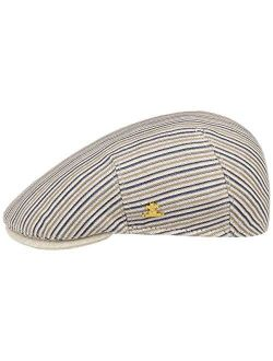 Linen Stripes Flat Capgold Men - Made In Italy