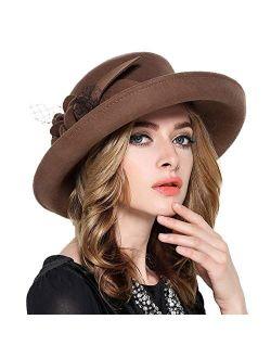FADVES Vintage Wide Brim Wool Felt Fedora Flowers Mesh Church Bowler Derby Hats