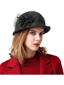 Womens Wool Caps With Brim Cloche Hats For Women With Veil 1920s Vintage Fedora Hat