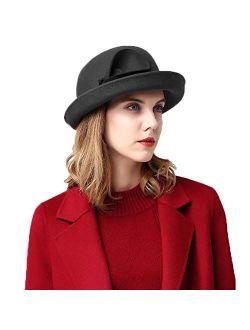 Women Wool Felt Plume Church Dress Winter Hat Formal Derby Hats For Women Wide Brim Fedora