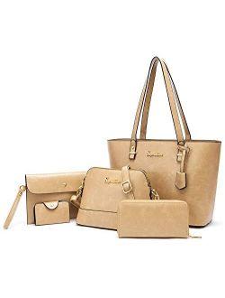 Soperwillton Purse and Wallet Set for Women Handbag Ladies Tote Shoulder Bag Hobo Satchel Purse 5pcs