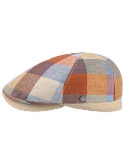 Ravello Check Linen Flat Cap Men - Made In Italy