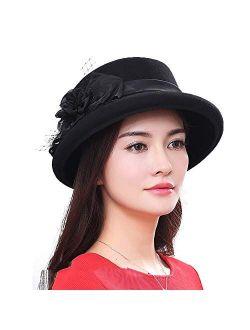 FADVES Womens Wool Felt Church Fedora Hats Floral Veil Netting Wide Brim Derby Hat