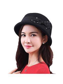 Wool Felt Cloche Fedora Hat For Women Derby Party Bowknot Church Bowler Hats