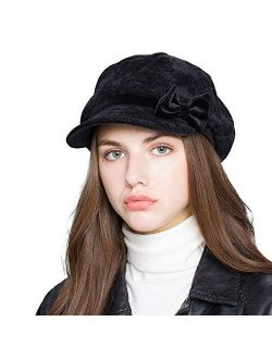 Women's Bowknot Newsboy Cap Fall Winter Gatsby Ivy Hat 3 Colors