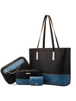 Women Handbags Tote Bags Shoulder Bag Top Handle Satchel Purse Handbag Set 4pcs