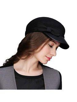 Women 100% Wool Felt Vintage Newsboy Painter Hat Visor Beret Cabbie Cap Pu Brim