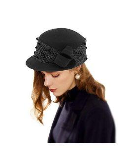 Women Tea Party Winter Fascinator Wool Felt Cloche Bucket Bowler Hat With Veil