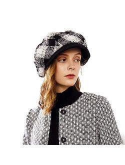 Womens Visor Beret Packable Newsboy Hat Cap For Ladies Merino Wool Plaid Hats