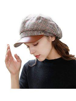 Fashion Women's Classic Plaid Wool Blend Newsboy Ivy Cap British Outdoor Casual Winter Hat