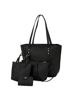 Sanyalei Women Fashion Synthetic Leather Handbags+Shoulder Bag+Purse+Card Holder 4pcs Set Tote