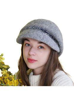 Women's Winter Newsboy Hat Cabbie Cozy Visor Baker Boy Cap