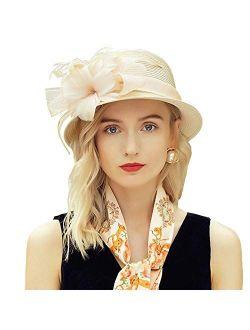 Women's Flower Straw Hat Sinamay Elegant Fisherman Wide Side Beach Sun Hat