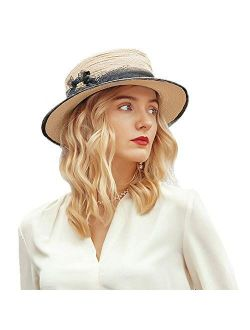 Boater Straw Hat For Women Wide Brim Flat Top Derby Sun Hat Elegant Fedora