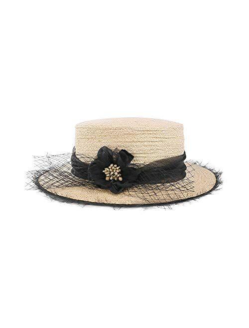 F FADVES Boater Straw Hat for Women Wide Brim Flat Top Derby Sun Hat Elegant Fedora