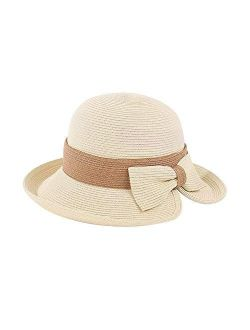 Wide Brim Straw Hats Bow Sun Hats For Women Uv Protection Floppy Beach Outdoor Summer Cloche Caps