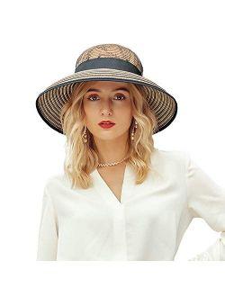 Summer Hat For Women Beach Sun Hat Straw Hat Fedora Wide Brim Uv Protection Summer Cap
