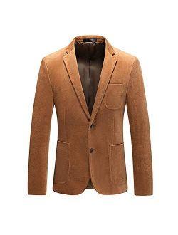 Mens Casual Business Suit Blazer Slim Fit 2 Button Cotton Woven Jacket Sport Coat