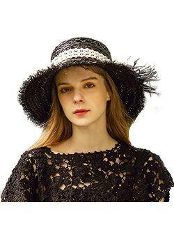 Women Wide Brim Sun Hat Summer Beach Sunhats Cap Packable Straw Hat Travel