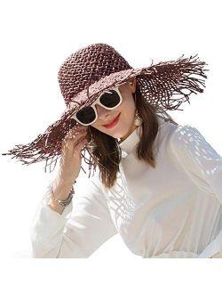 FADVES Women Floppy Straw Hat Travel Beach Sun Hat Irregular Brim