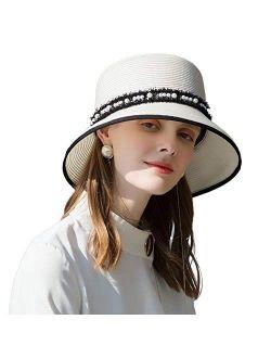 FADVES Womens Wide Brim Roll up Straw Hat Fedora Travel Beach Pearl Decoration Sun Hat