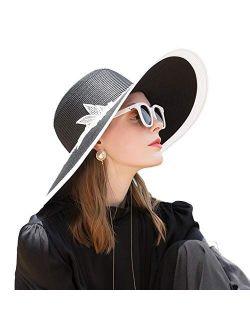 FADVES Washable Straw Hat Floppy Beach Travel Wide Brim Sun Hat Sun Protection