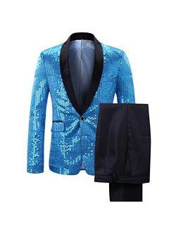 Men's Slim Fit 2 Pieces Suit Shiny Sequin Party Wedding Tuxedo Suits