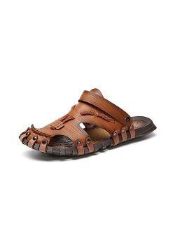 DJASM Stlxfs Microfiber Leather Summer Breathable Casual Slip on Flat Mens Sandals Beach Sandal Man Shoes Sandles (Size : 12code)
