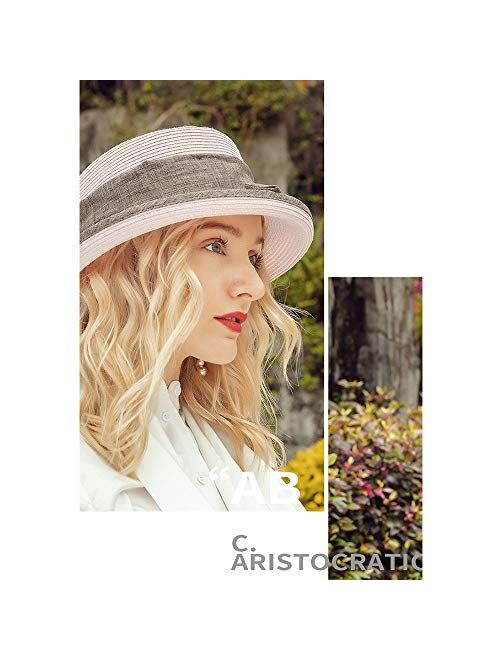 F FADVES Sun Hat for Women Straw Bowler Casual Hat Fashion Vintage Wide Brim Bowknot Beach Hats