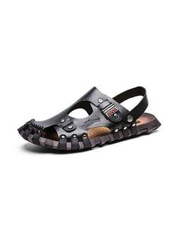 XLEVE Summer Men Sandals Genuine Leather Men's Beach Sandals Men's Casual Shoes Soft Rubber Comfortable Slip-on Outdoor Footwear