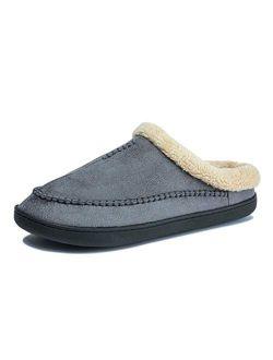 LXDWJ Winter Warm Slippers Men Suede Gingham Short Plush Indoor Shoes for Male Non Slip Cozy Velvet Waterproof Home Men Slippers (Color : Blue, Size : 43-44)