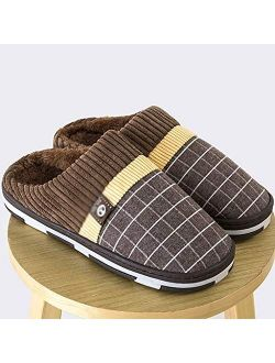 UXZDX CUJUX 2020 Men Slippers New Warm Men's Slippers Short Plush Flock Home Slippers for Men Hard-Wearing Non-Slip Sewing Soft Male Shoes (Color : B, Size : Code 38)