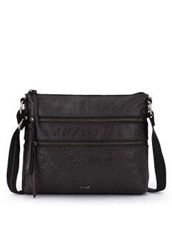 Reseda Double Zip Top Leather Crossbody Bag