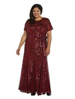 R&M Richards Women's Plus Size Long Beaded Gown