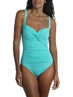 La Blanca Women's Island Goddess Over The Shoulder Rouched Front Bandeau One Piece Swimsuit