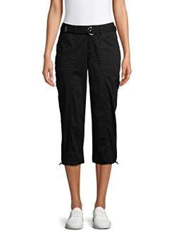 Womens Belted Cargo Capri Pants (10, Black)
