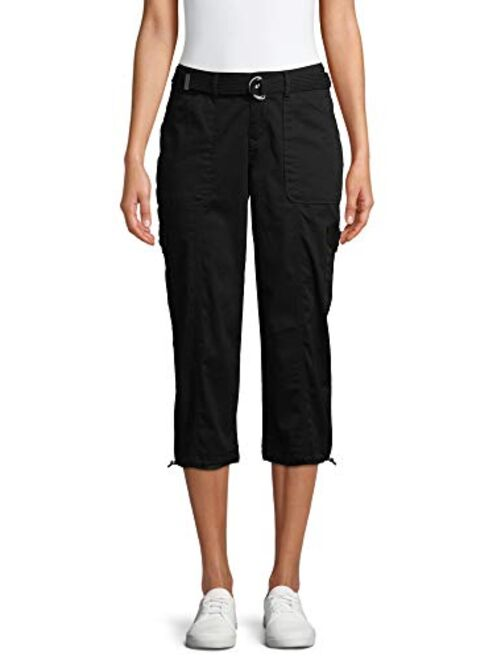 Time and Tru Womens Belted Cargo Capri Pants (10, Black)