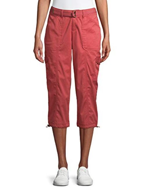 Time and Tru Womens Cotton Belted Cargo Capri Pants
