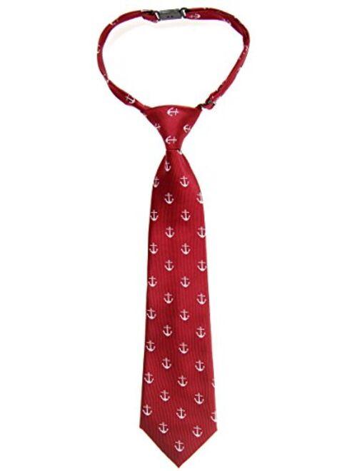 Retreez Classic Anchor Pattern Woven Microfiber Pre-tied Boy's Tie