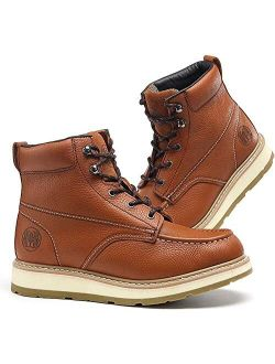 """Work Boots for Men, 6"""" Composite Toe & Soft Toe Mens Work Boots, Non-Slip Puncture-Proof Water Resistant Safety EH Moc Toe Construction Work Shoes (Brown)"""