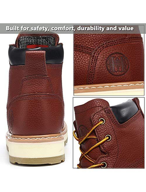 "HANDMEN Work Boots for Men - 6"" Composite Toe & Soft Toe Mens Work Boots, Non-Slip Puncture-Proof Water Resistant Safety EH Moc Toe Construction Work Shoes (Claret)"
