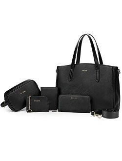 BALEINE 5 Pcs Handbag Set, Womens Handbags with Shoulder Bags, Small purse, Wallet, Cosmetic Hand Bag and Card Holder