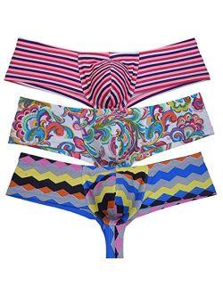 OROCOJUCO Men's Cheeky Shorts Hipster Thong Briefs Brazilian Bikini Underwear Skimpy Boxer Brief Trunks
