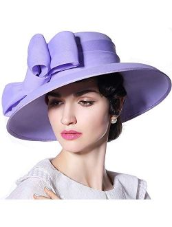 F FADVES Royal Wedding Hats for Ladies Large Brim Fedora Flat Top Church Party Women Kentucky Derby Bowknot Hat