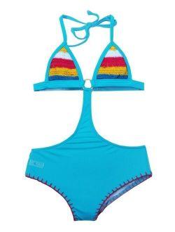 Girls Turquoise Hippie Hippie Shake Crochet Monokini Swimsuit